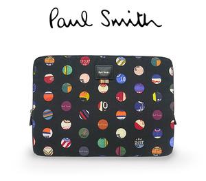 【超美品 ほぼ未使用】 ポールスミス ラップトップケース PCバッグ 鞄 クラッチバッグ ポーチ タブレット キャンバス レザー ブラック 黒