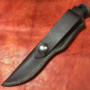 ナイフ用シース 24 ハンドメイド 本革 UF ブッシュクラフトナイフ / モーラ ナイフ コンパニオン ヘビーデューティー 等に マナブキャンプ