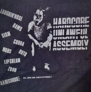 ハードコア不法集会 Tシャツ 黒ブラック PUNKパンクハードコアジャパコアオムニバス LAUGHIN'NOSE GISM COBRA OUTO MOBS LIPCREAM レア廃盤