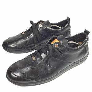 【ルイヴィトン】本物 LOUIS VUITTON 靴 28cm 黒 モノグラム スニーカー カジュアルシューズ 本革 レザー 男性用 メンズ イタリア製 9 1/2