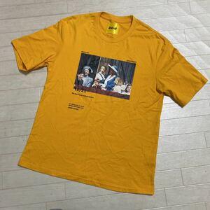 2039☆ MR.SCAREORCW トップス カットソー 半袖Tシャツ クルーネック メンズ イエロー プリント