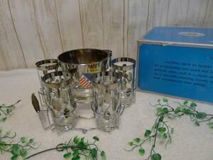 gg200●デッドストック WITS INTERNATIONAL USA グラス&アイスペールセット 大き目タンブラー6客 メタリック水玉シルバー 専ラック付/100