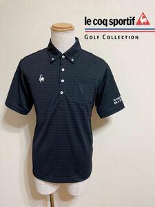 【良品】 le coq sportif GOLF ルコック ゴルフ ウェア ボーダー ボタンダウン ドライ ポロシャツ トップス サイズL 半袖 黒 QG2836