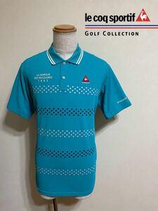 【美品】 le coq sportif GOLF ルコック ゴルフ ウェア ドライ ポロシャツ トップス ドット ボーダー サイズLL 半袖 水色 デサント QG2766