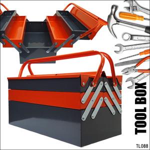 工具箱 BIG42cm 両開き スチール ツールボックス オレンジ×グレー 収納 ツールBOX/23э