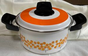 昭和レトロ ホーロー 象印 両手鍋 琺瑯 オレンジ 花柄 20cm