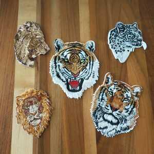 虎トラタイガーヒョウライオン刺繍アイロンワッペンアップリケセット*新品