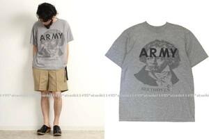 ARMY × BEETHOVEN ベートーベン Tシャツ L ビンテージ USEDリメイク 染み込みプリント
