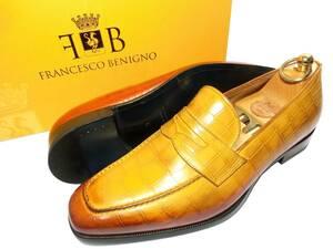 ①【色彩の魔術師】フランチェスコベニーニョ 革靴 6 25cmクロコ型押し ライトブラウン コインローファー ペニーローファー