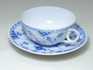 ▲60SK828▲RoyalCopenhagenロイヤルコペンハーゲン ブルーフルーテッド カップ&ソーサー 1/525 ティー コーヒー 洋食器