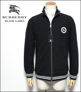 新品 バーバリーブラックレーベル ホース刺繍ワッペン ストレッチ性 トラックジャケット 黒 2(M)■BURBERRY BLACK LABELジャージ ブルゾン