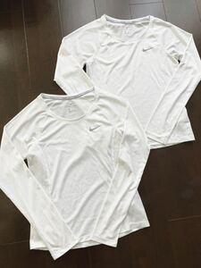 送料無料★NIKEナイキ★DRI-FITメッシュ長袖ランニングTシャツ2枚セット/ウィメンズSサイズ白ホワイト★レディースジョギングスポーツジム