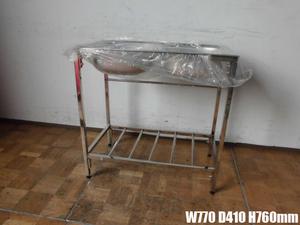 中古厨房 業務用 未使用 2槽シンク A ステンレス 流し台 W770×D410×H760mm 脚調節:+10mm 調理場 店舗