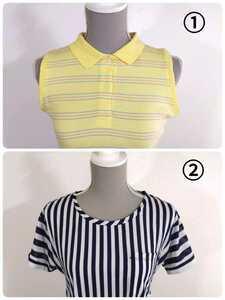 セット販売・POLO ポロシャツ & GU ストライプ柄Tシャツ Mサイズ相当 ノースリーブパステルカラー 黄色ライトイエロー ネイビー&白 79138