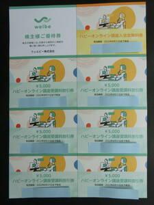 ウェルビー株主優待 ハビーオンライン講座入会金無料券1枚・受講料5,000円割引券6枚セット