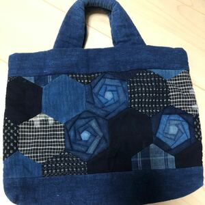 未使用☆藍染パッチワークトートバッグ