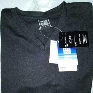 涼しい~♪メンズ ドライ 鹿の子 Vネック 半袖Tシャツ2021年7月入荷商品 Lサイズ 黒色