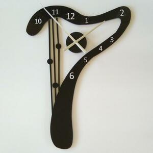 リビング インテリア ウォールクロック ハープデザイン掛け時計 壁 寝室 弦楽器 音楽 ブラック