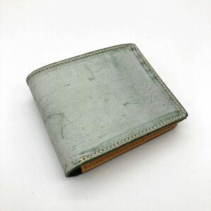 牛本革 本革 ブライドル フルレザー 二つ折り 財布 ミニ財布 新品 未使用 送料無料 グリーン ハンドメイド ヌメ革財布