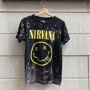 US古着 バンドTシャツ NIRVANA カートコバーン ニルヴァーナ プリントTシャツ ブリーチT 黒Tシャツ スマイル Sサイズ
