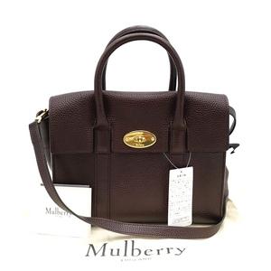 送料無料 美品 マルベリー Mulberry ハンドバッグ ショルダーバッグ 鞄 2WAY レザー 本革 ワインレッド系 バーガンディ レディース