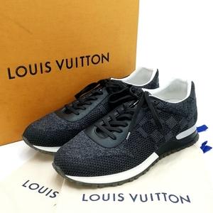 送料無料 美品 ルイヴィトン LOUIS VUITTON スニーカー 靴 シューズ GO1106 ランアウェイ ライン ダミエ 7 26cm相当 黒 ブラック系 メンズ