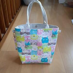 ハンドメイドトートバッグ猫柄パステルカラー