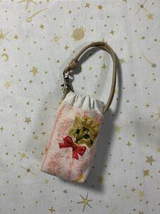 ハンドメイド♪ 手ピカジェル用ケース043 綿麻 王冠猫柄ピンク ホルダーケース