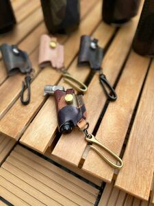 限定カモサンドsotoマイクロトーチ専用本革カバー真鍮フックtype