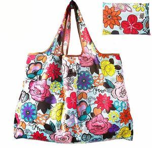 折りたためるショッピングエコバッグ【花柄ブルー】 ハンドメイドバッグ エコバッグ ショルダーバッグ 北欧 マザーズバッグ