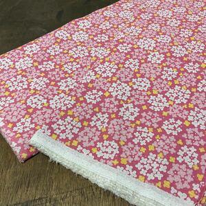 混麻 オックス生地 幅110×50cm ピンク 紫陽花 小花柄