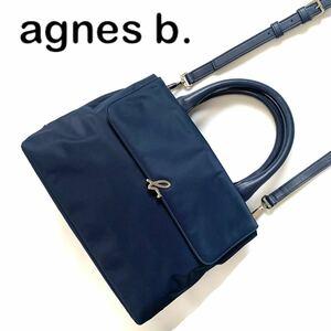 【送料無料】agnes b. アニエスベー ナイロン レザー 2way ショルダーバッグ ネイビー 紺色 ハンドバッグ レザー カバン