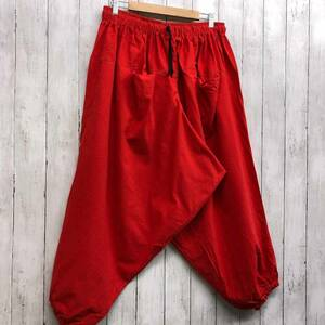 サルエルパンツ タイパンツ アラジンパンツ メンズ レディース フリーサイズ コットン100% ゆったり 大きいサイズ 22-red