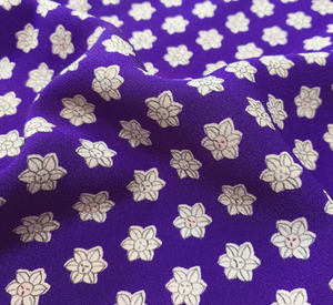 まるえ◆正絹小紋ハギレ生地◆紫花◆160cm35cm◆m2457-2