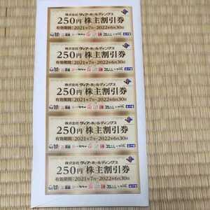 ヴィア・ホールディングス 株主優待券 1250円分