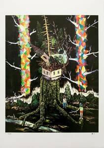 平子雄一 直筆サイン 初期 シルクスクリーン Tree House I ED110 Yuichi Hirako Memories Of My Garden kaws Kyne ロッカクアヤコ