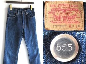 希少 USA製 90sビンテージ BIGE復刻 LEVI'S リーバイス ボタン裏555 バレンシア工場 517 デニムパンツ W29 インディゴ 男女着用可 色残り多