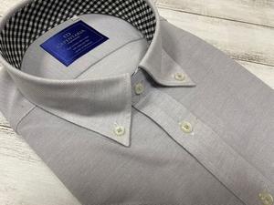 CARPENTARIA/半袖/ドレスシャツ/ワイシャツ/LLサイズ/形態安定/ボタンダウン/グレー/襟裏ギンガムチェック柄/アイロンがけ不要/507