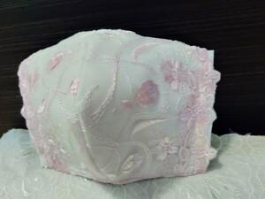 立体インナー 立体カバー 優しい桜色刺繍チュールレース