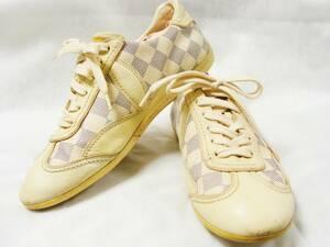 LOUIS VUITTON ルイヴィトン ◇ ダミエ アズール 柄 PVC レザー スニーカー シューズ 靴