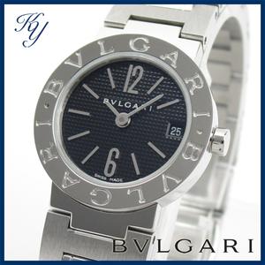 送料無料 3ヶ月保証付き 磨き済み 美品 本物 定番 BVLGARI ブルガリ BB23SS ブラック レディース 時計