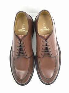管理28 定価2.3万 新品リーガル 25㎝ REGAL ビジネス シューズ メンズ 革靴 レザー 未使用 送料無料 Uチップ カジュアル ブラウン茶 日本製