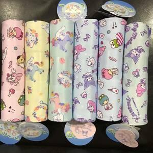 新品 サンリオ 吸水冷感 メッシュ カットクロス 生地 6枚セット 布 はぎれ まとめ売り キャラクター クロミちゃん シナモンロール sanrio