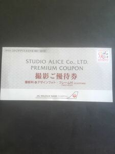 【送料無料】スタジオアリス 撮影ご優待券 撮影料3,300円+デザインフォトフレーム付 8,000円相当分優待券 JAL