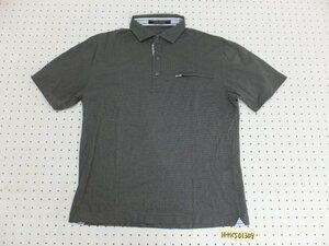 〈送料280円〉INTERMEZZO インターメッツォ メンズ 日本製 胸ポケット付き 半袖ポロシャツ 大きいサイズ LL 暗いグレー黒