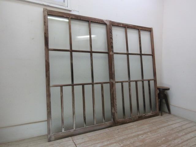 古い木味ダイヤガラスの窓2枚組B207    アンティーク建具引き戸扉ドア戸窓玄関店舗什器カフェ什器無垢材古家具