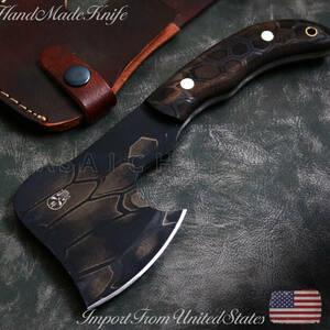 【熟練アメリカ職人製】アウトドア「D2鋼」斧型 クリーバーナイフ/MICARTAハンドル/フルタング/1点物/本革シース付/薪割、キャンプに♪