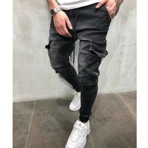 ジョガーパンツ ポケット付き デニム テーパードパンツ ボトムス スキニー M L XL ブルー ブラック メンズ レディース