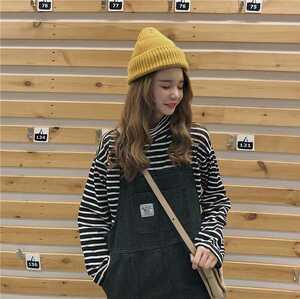 サロペット ジャンパースカート オーバーオール デニム ワンピース Free オルチャン 韓国 原宿 ストリート 黒 ブラック