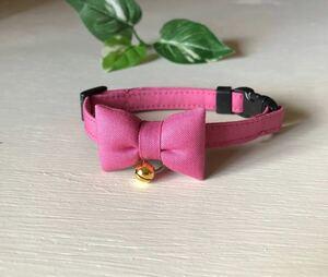 猫首輪 おしゃれ濃いくすみピンク シンプルな首輪